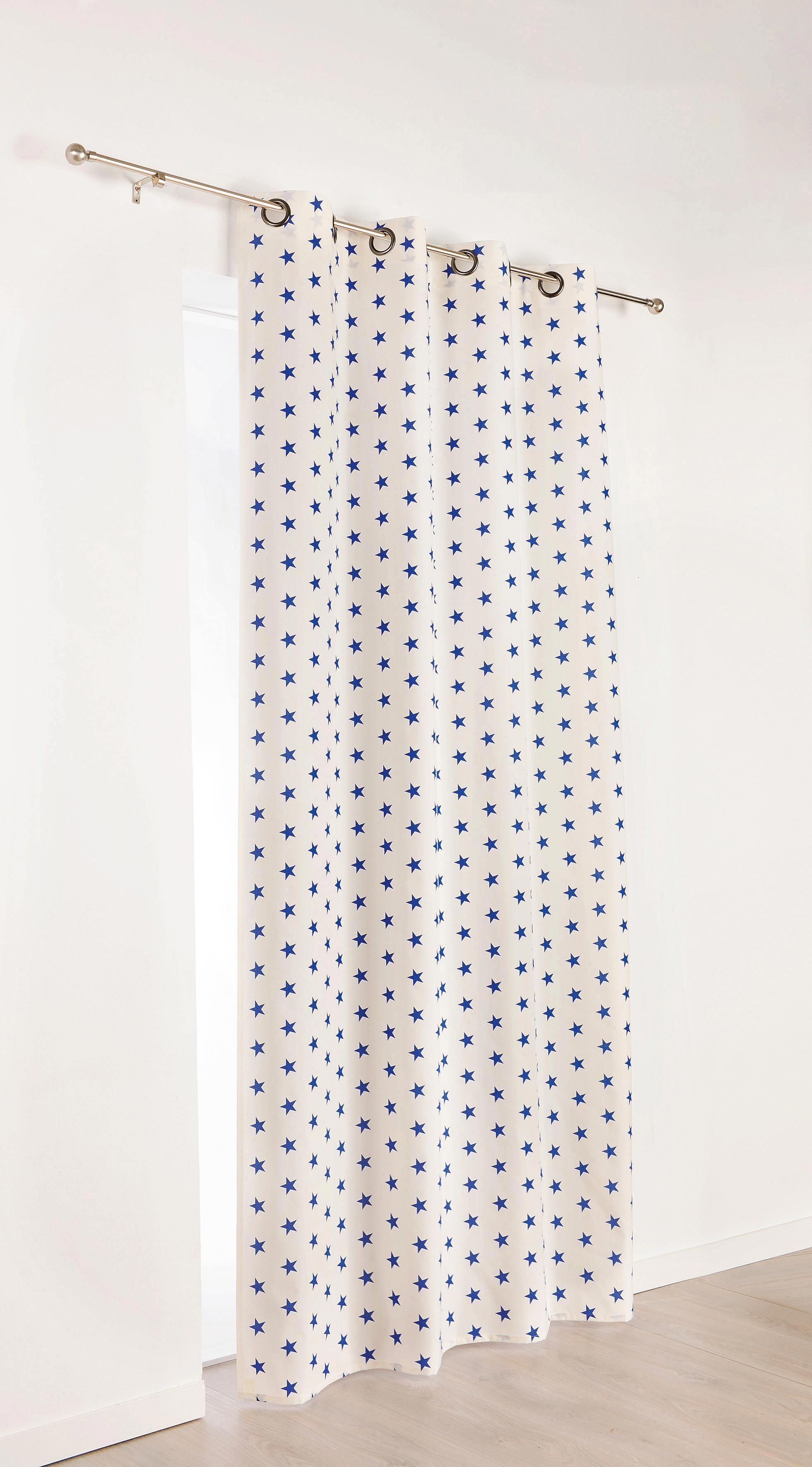 Rideau enfant petites toiles color es blanc bleu - Rideau blanc et bleu ...