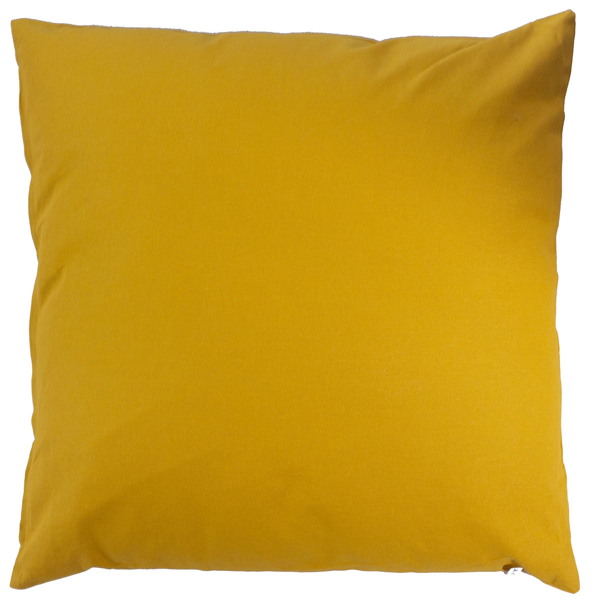 Coussin déhoussable uni en coton   (Moutarde)