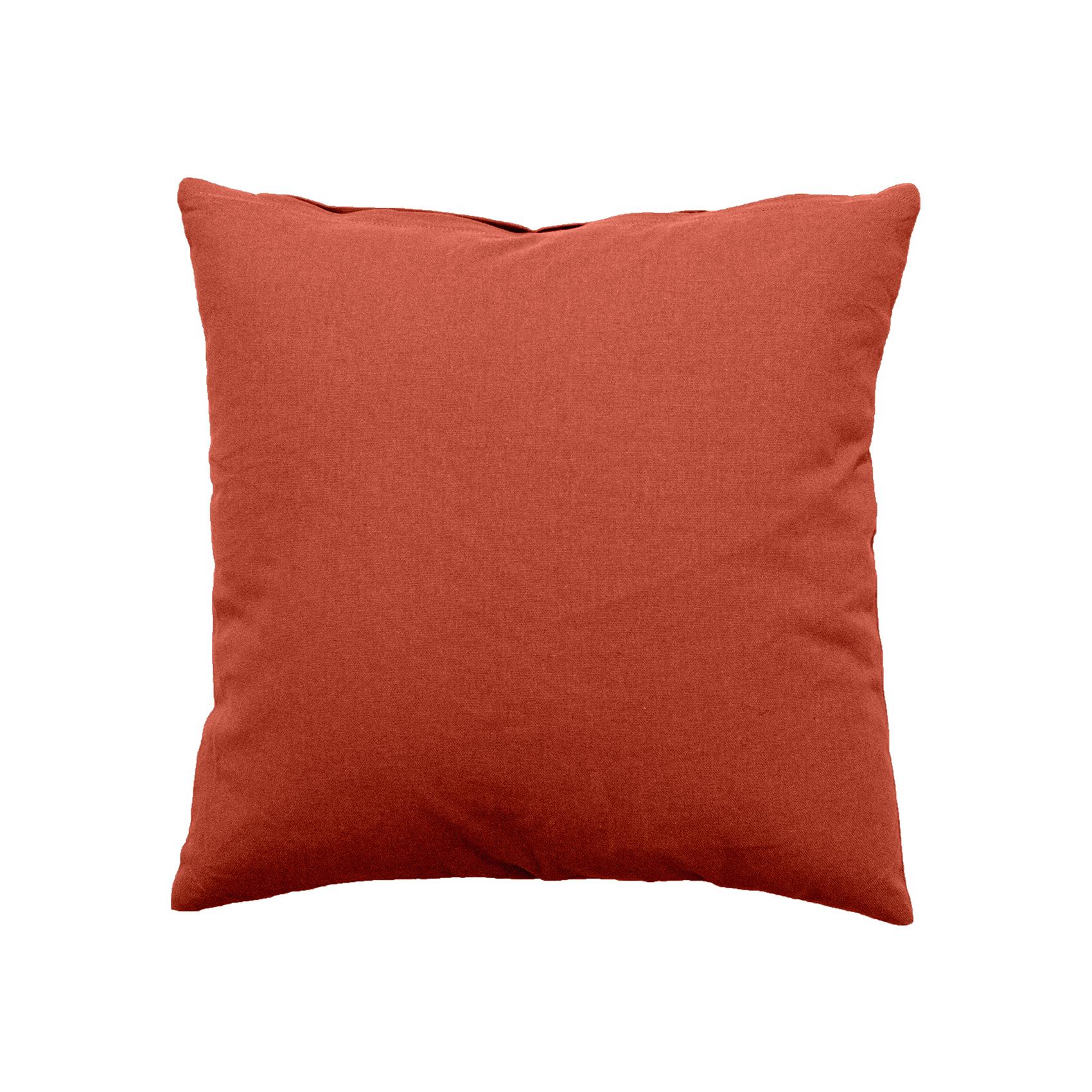 Coussin déhoussable uni en coton   (Terre Cuite)