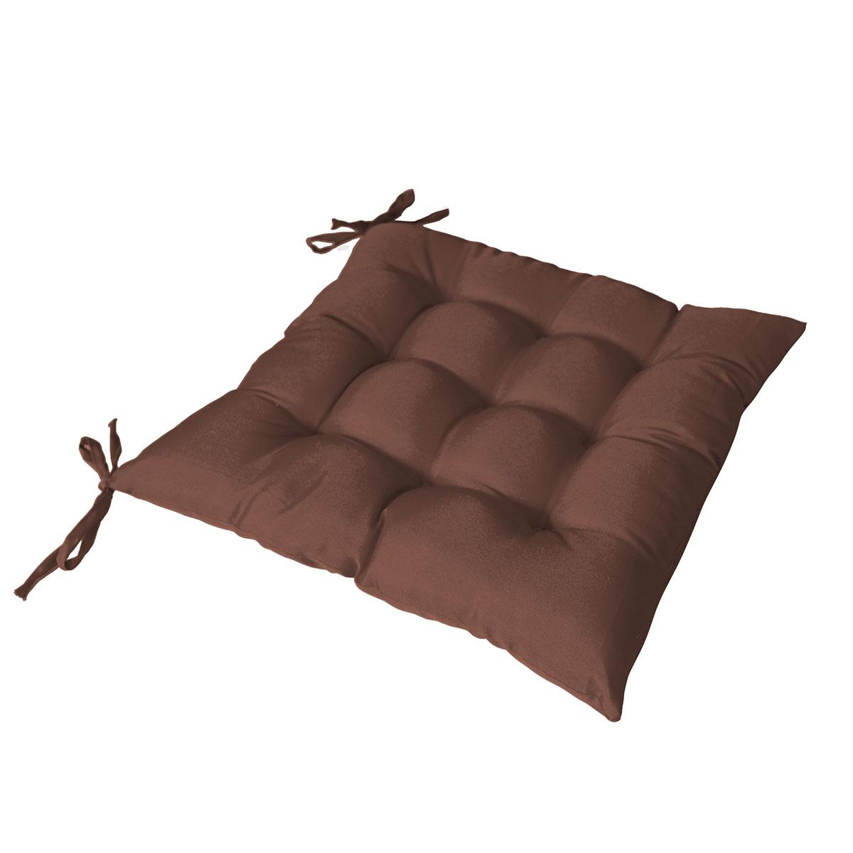 Galette de chaise piquée avec 2 nouettes - Chocolat - 40 x 40 cm