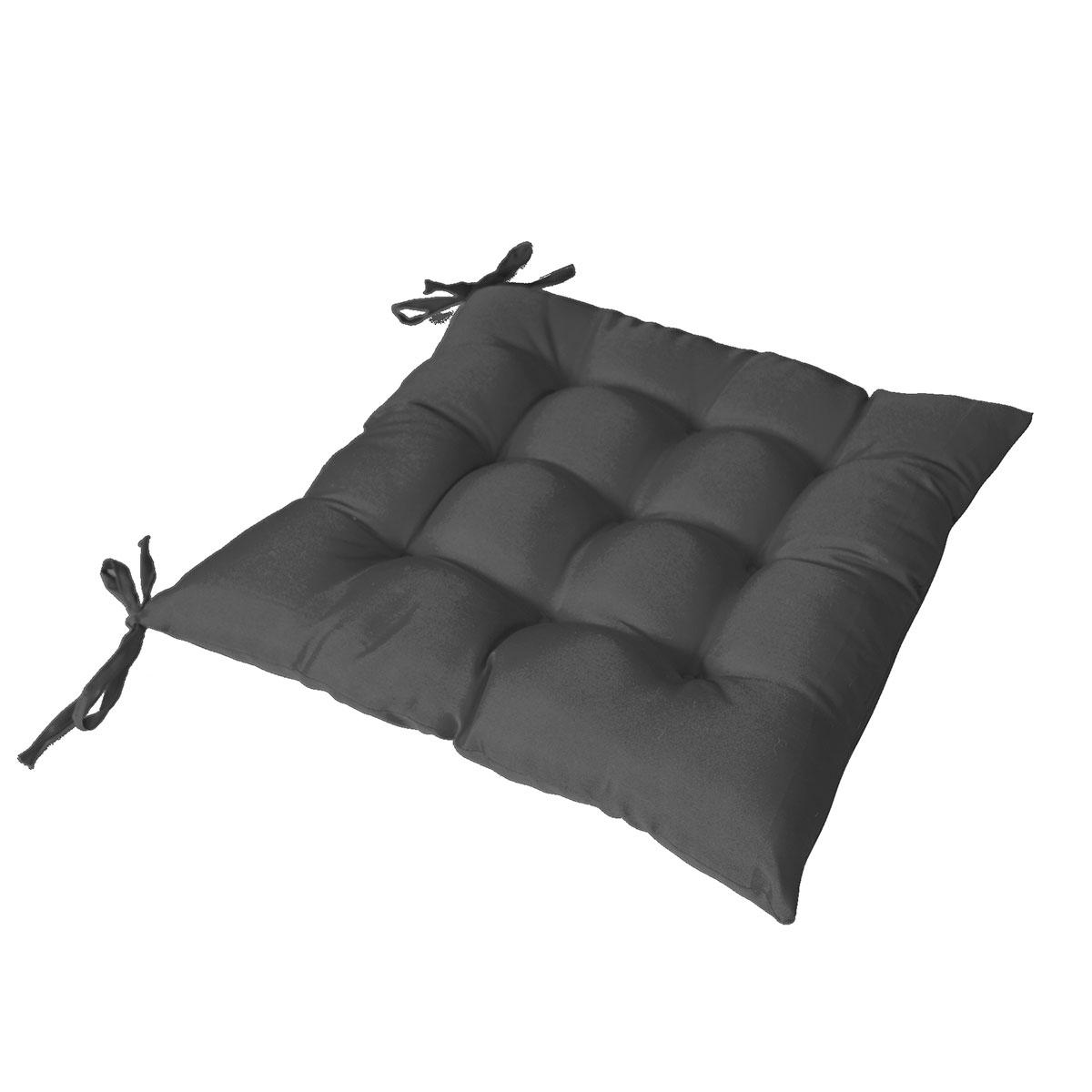 Galette de chaise piquée avec 2 nouettes - Noir - 40 x 40 cm