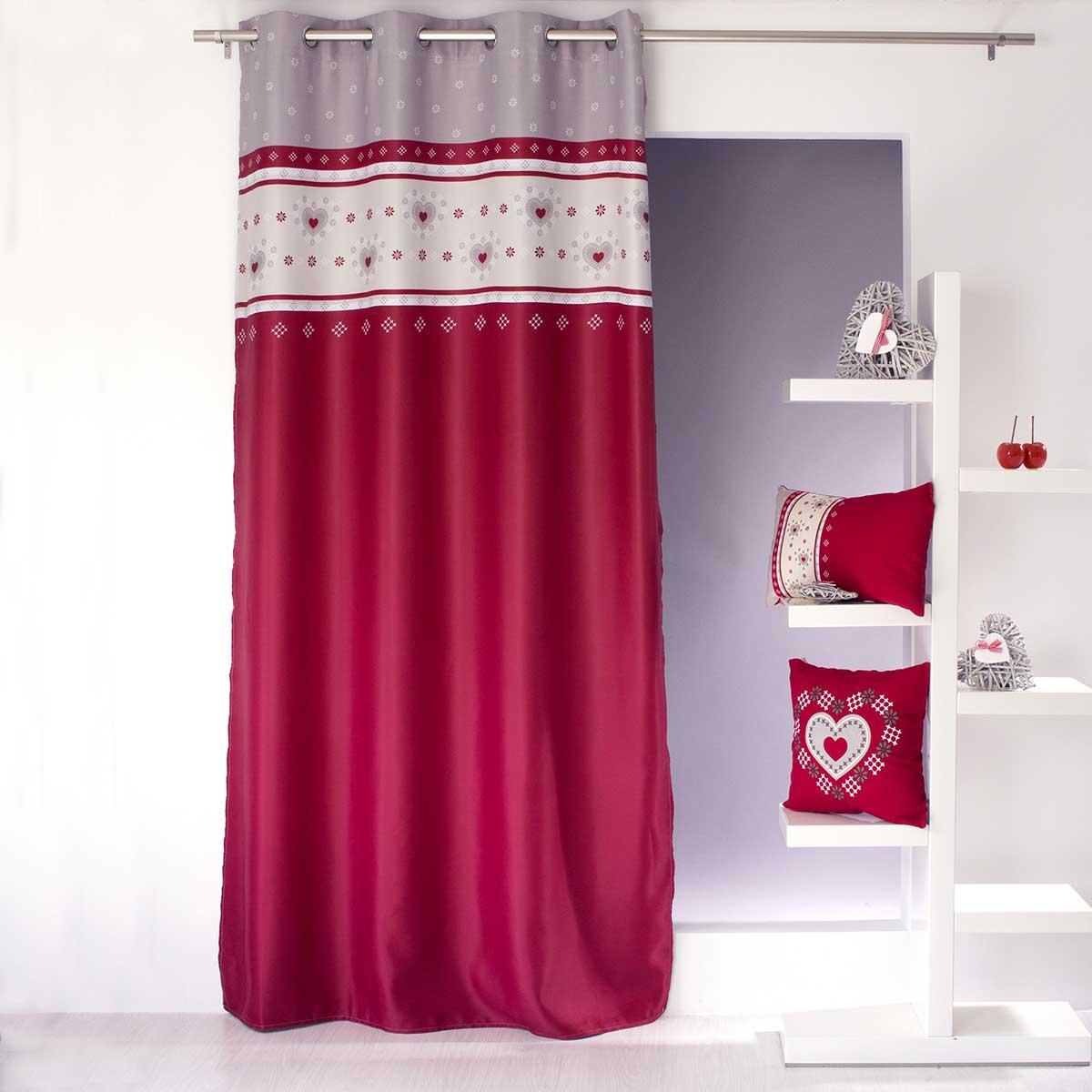 rideau occultant imprim flocons rouge homemaison vente en ligne tous les rideaux. Black Bedroom Furniture Sets. Home Design Ideas