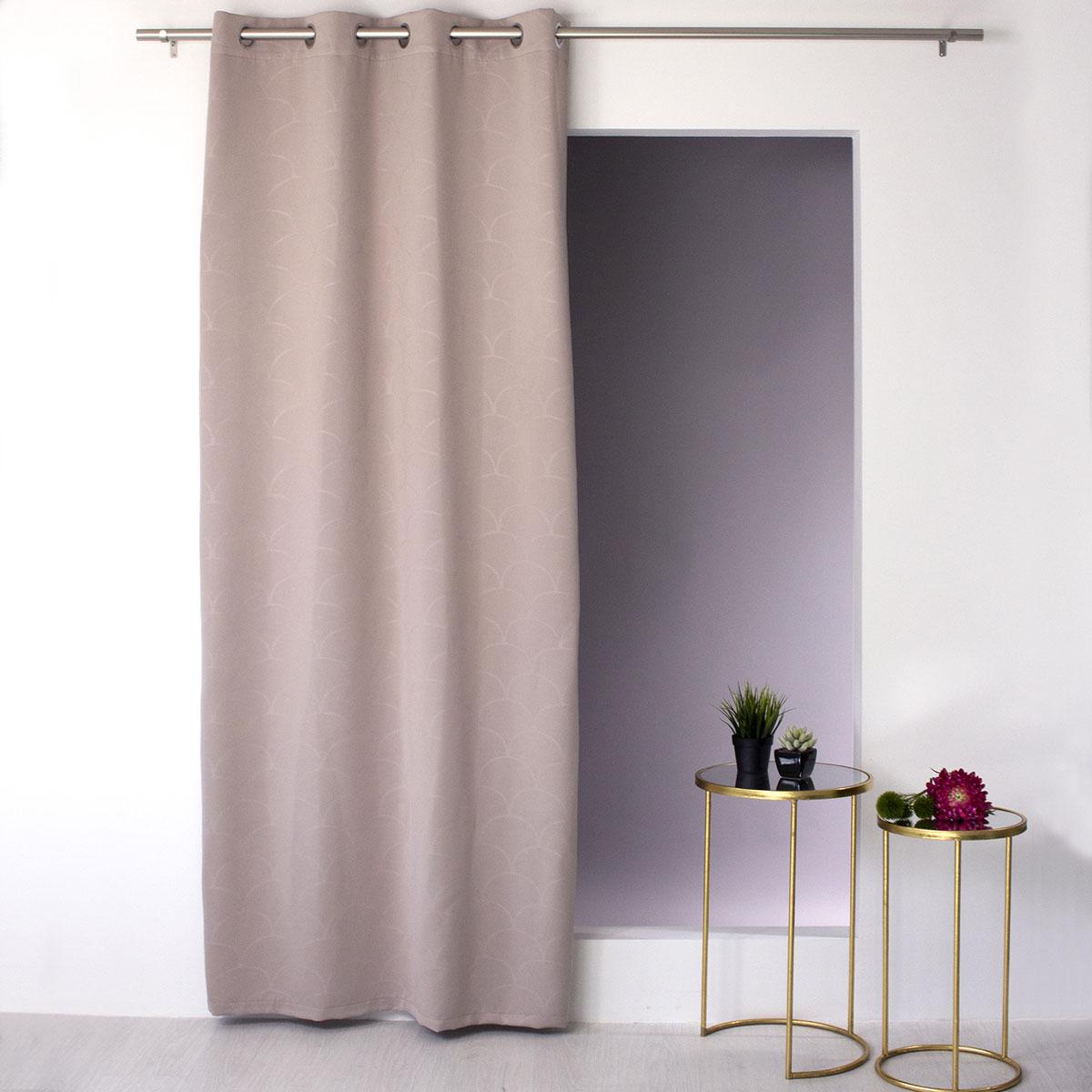 rideau occultant imprim art d co naturel vison gris fonc blanc homemaison. Black Bedroom Furniture Sets. Home Design Ideas