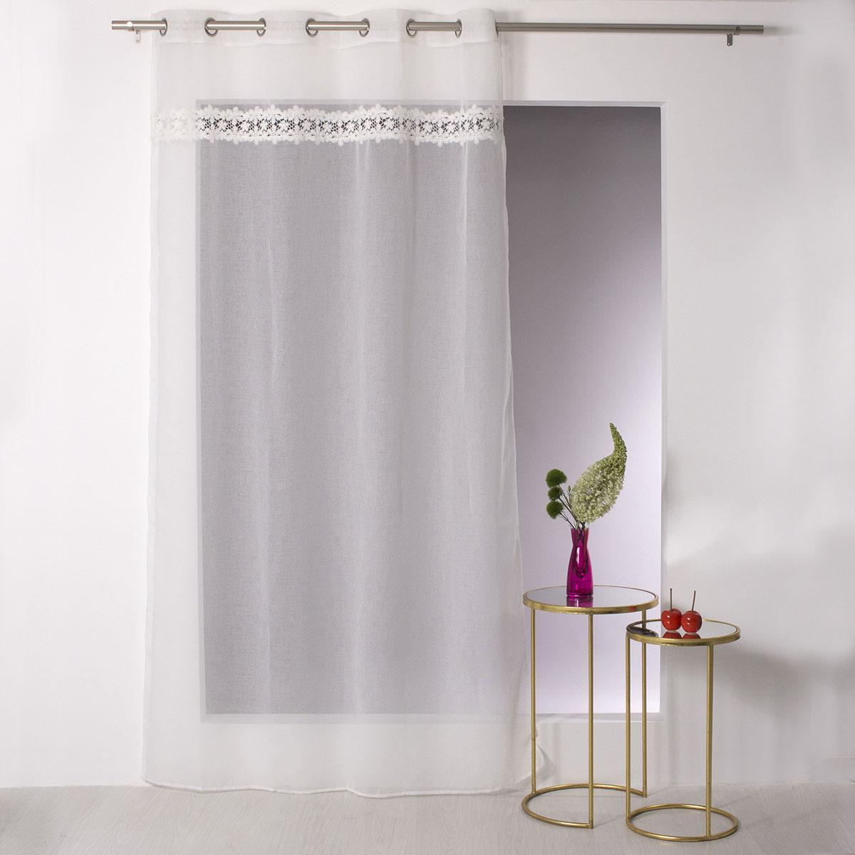 Voilage avec Bande Macramé Fleurs - Ivoire - 140 x 240 cm