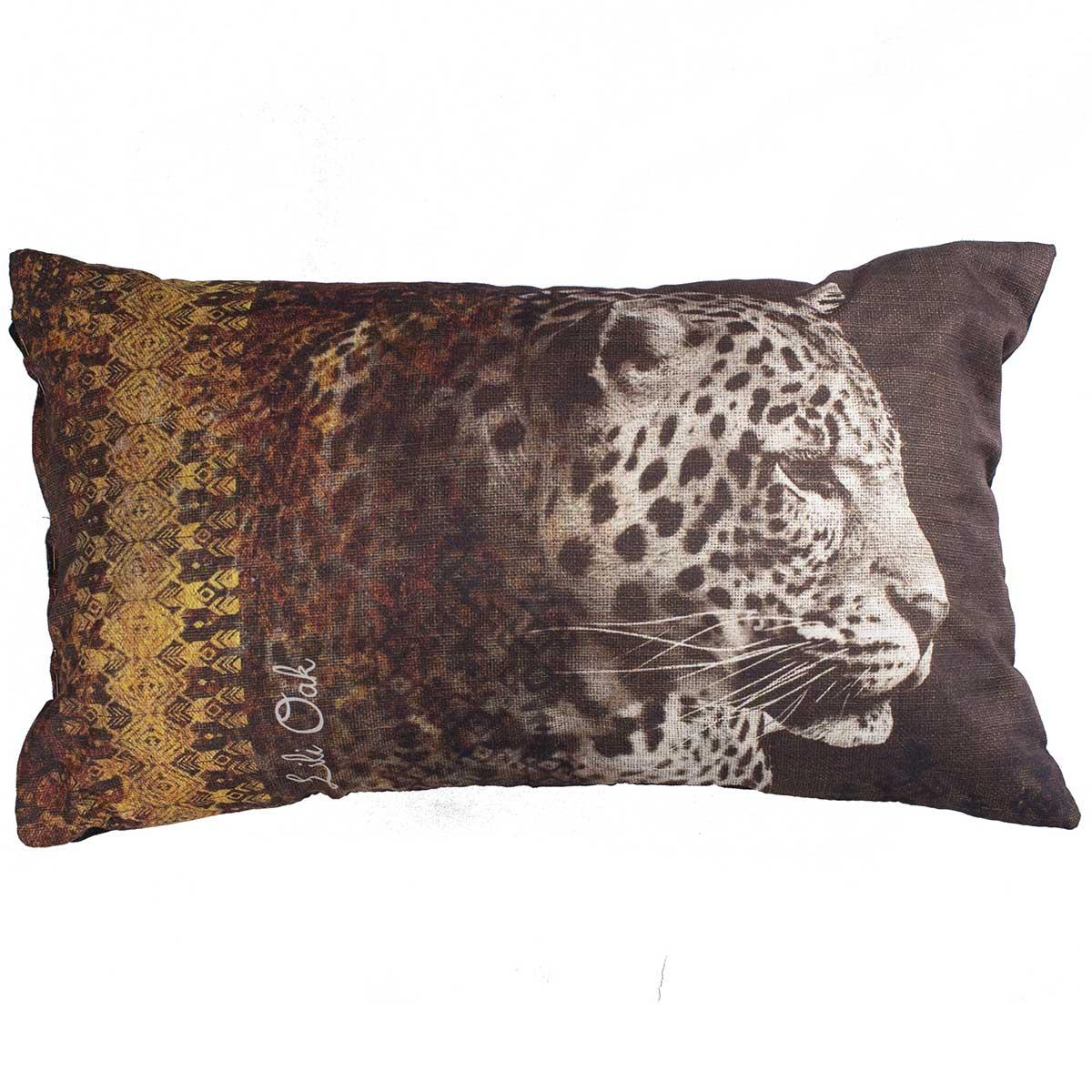 Coussin imprimé tête de léopard (Noir)
