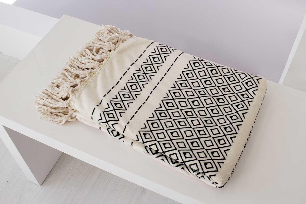 Plaid flannelle imprimée avec Franges Gipsy - Naturel - 130 x 160 cm