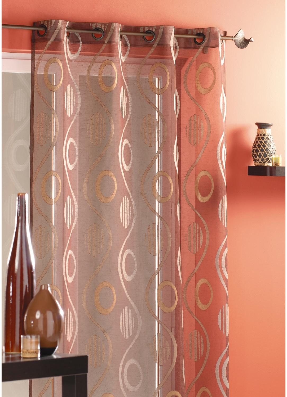voilage en jacquard motifs vagues et ronds chocolat. Black Bedroom Furniture Sets. Home Design Ideas