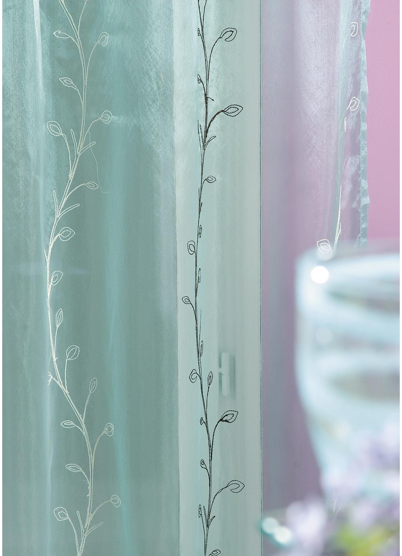 Voilage organza brodé bouton de fleurs (Aqua)