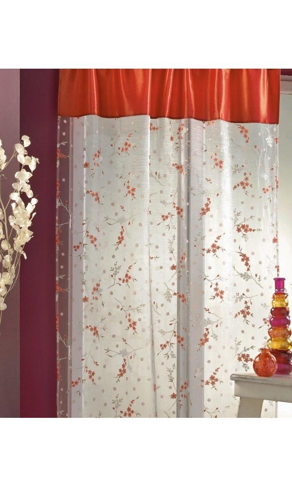 voilage organza d vor imprim petites fleurs corail. Black Bedroom Furniture Sets. Home Design Ideas