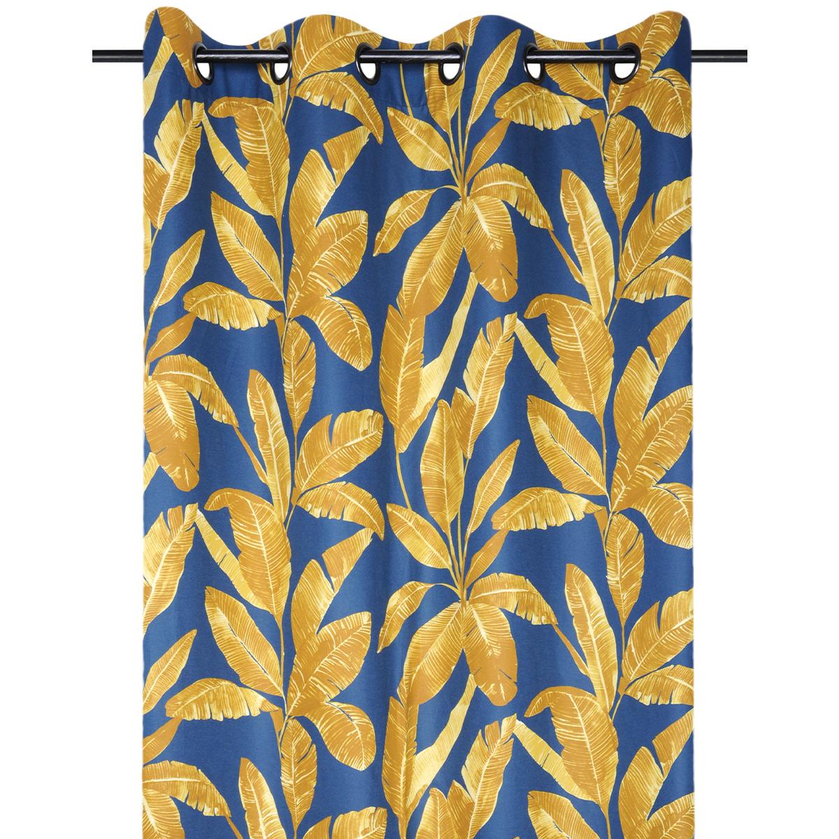 Rideau tamisant motif feuilles exotiques (Bleu)