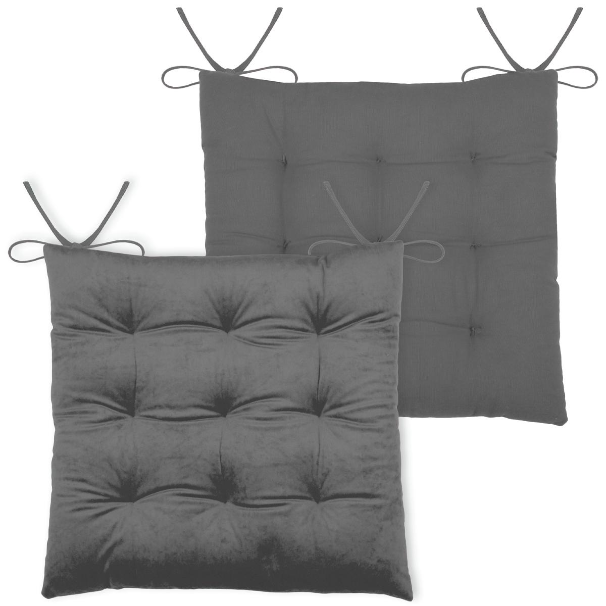 Galette de chaise unie en velours - Gris - 38 x 38 cm