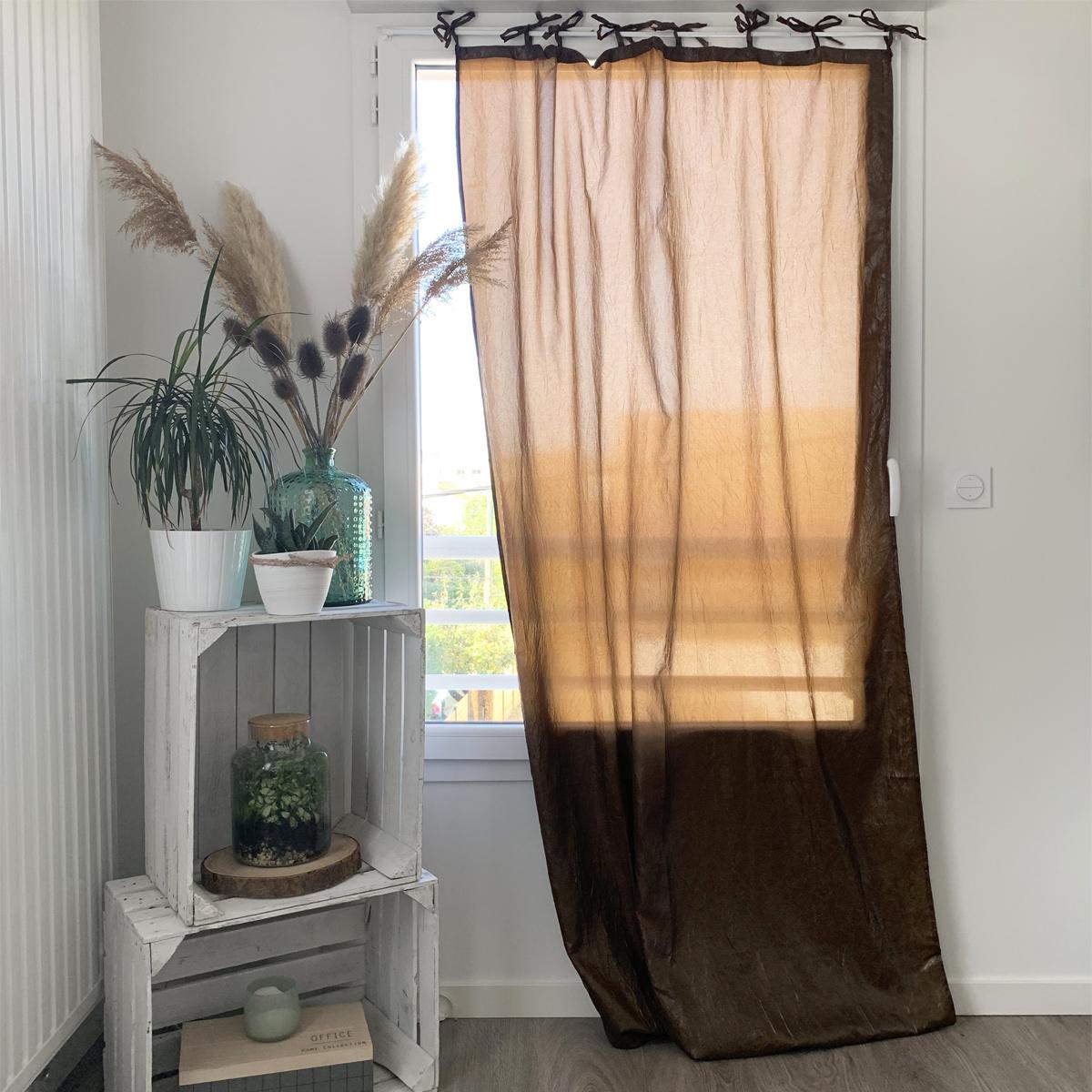 Rideau à nouettes aspect froissé - Chocolat - 110 x 110 x 75 cm