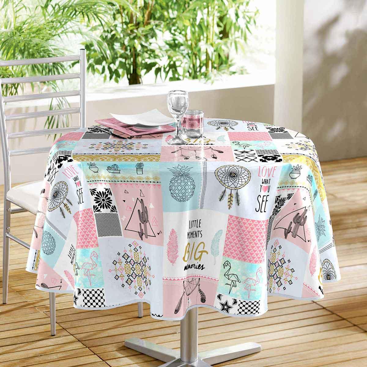 nappe ronde d co et design multicolore homemaison vente en ligne nappes rondes. Black Bedroom Furniture Sets. Home Design Ideas