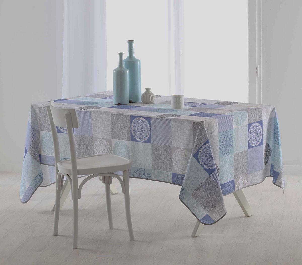 Nappe Rectangulaire Esprit Mandala - Bleu - 150 x 240 cm
