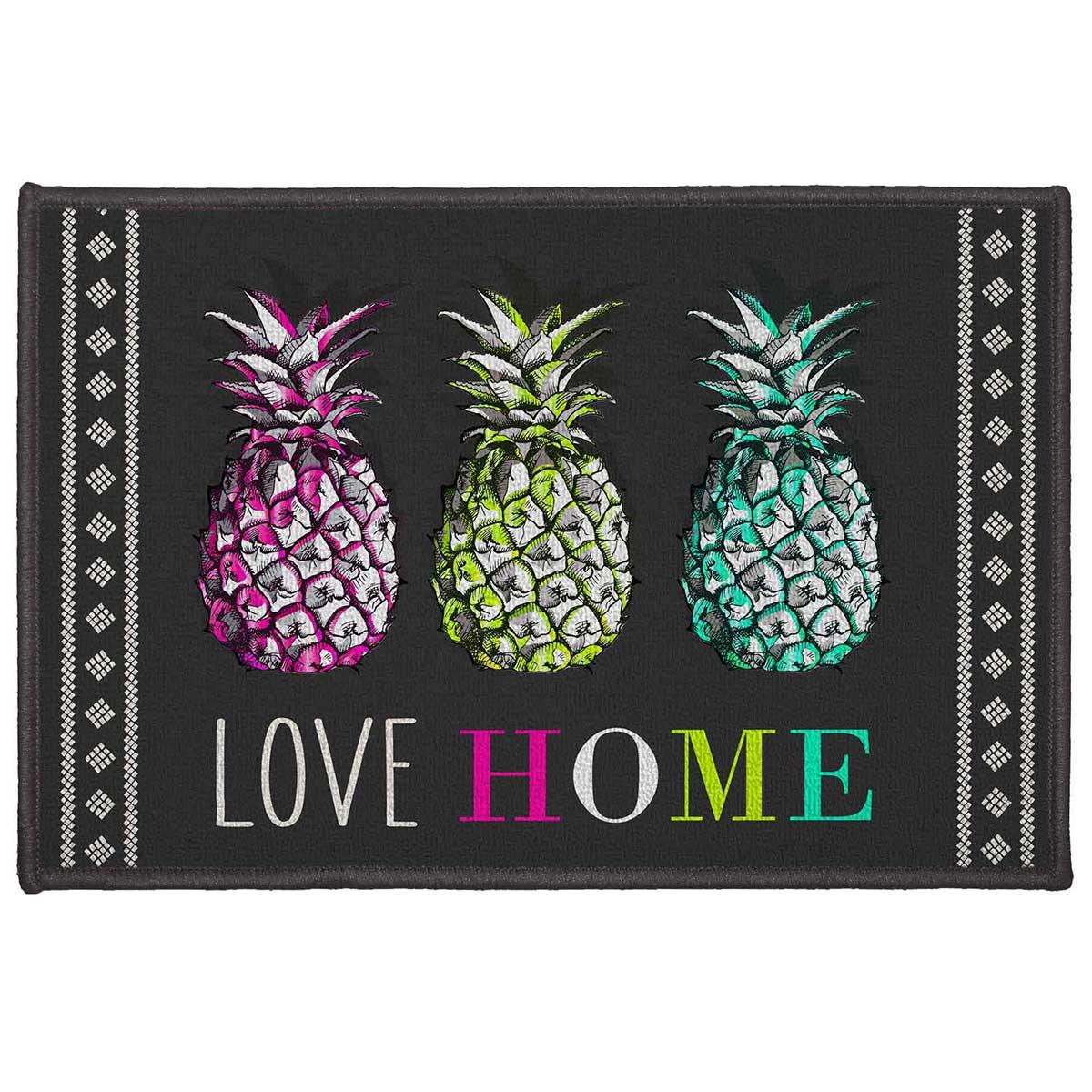 Tapis Décoratif Tendance Ananas - Multicolore - 50 x 80 cm