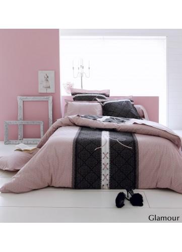Parure housse de couette Glamour - Rose - 140x200 cm + 1 taie 65x65 cm