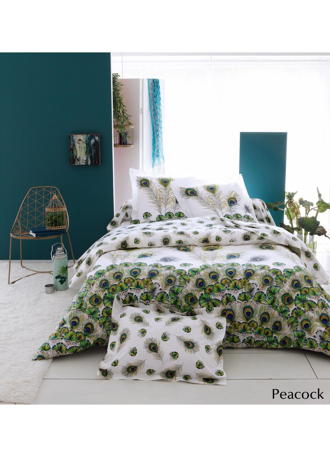 drap plat peacock blanc vert homemaison vente en ligne draps. Black Bedroom Furniture Sets. Home Design Ideas