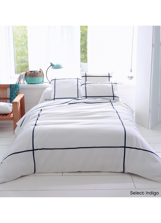 Taie d'oreiller Select (blanc / bleu)