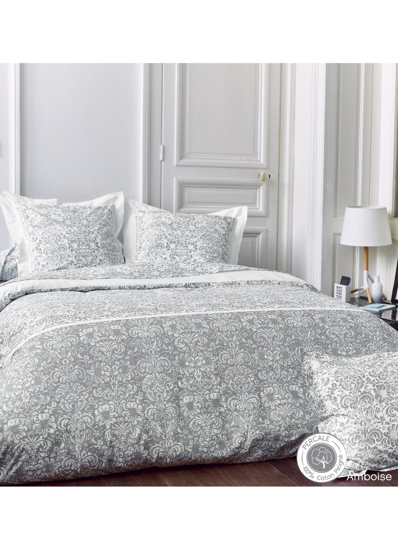 Taie d'oreiller Amboise (blanc / gris)