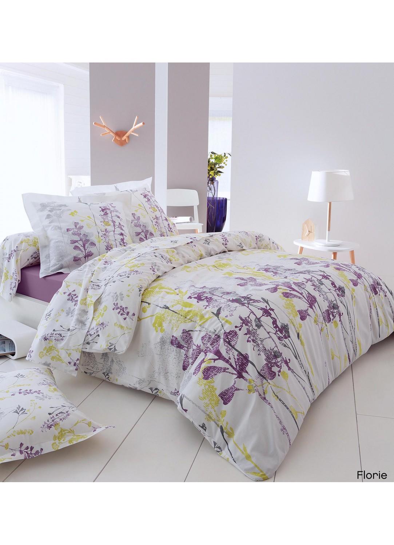 Taie d'oreiller Florie (blanc / violet / vert)