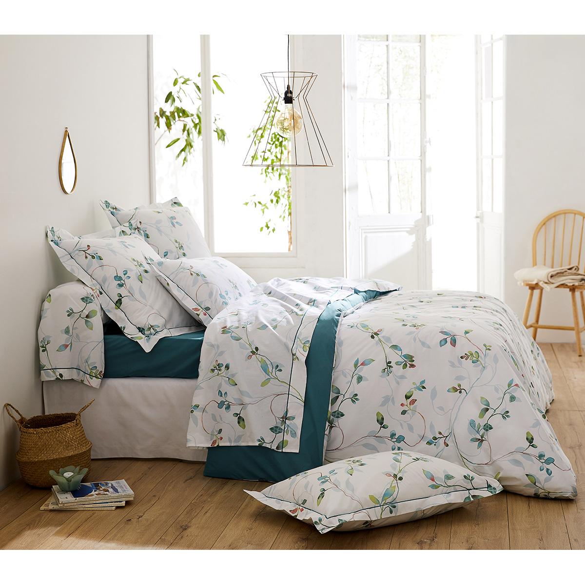 Parure de lit imprimée fleurs en aquarelle (Blanc)