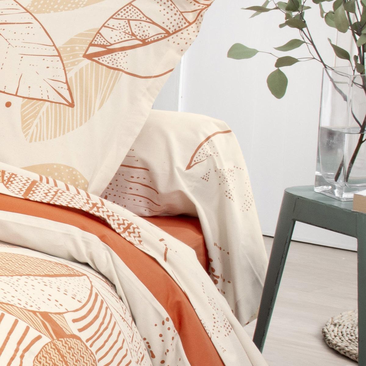 Drap housse uni en coton lavé - Terracotta - 160 x 200 bt 30 cm