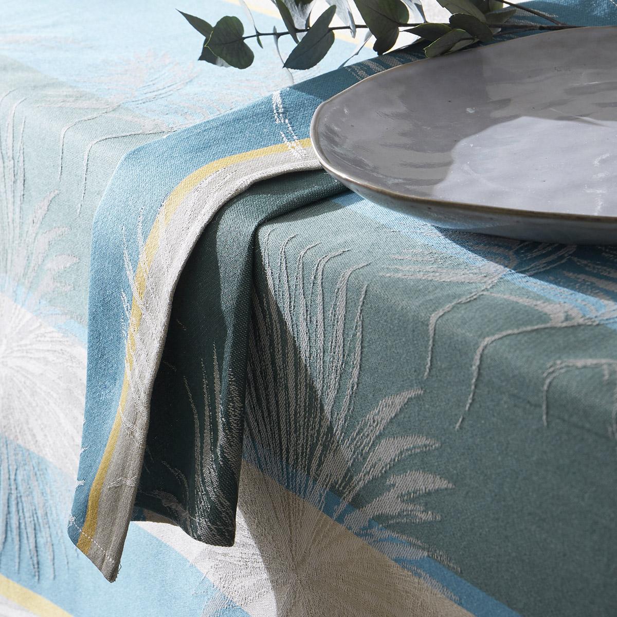 Lot de 3 serviettes tropicales à jacquard enduit - Lagon - 45 x 45cm