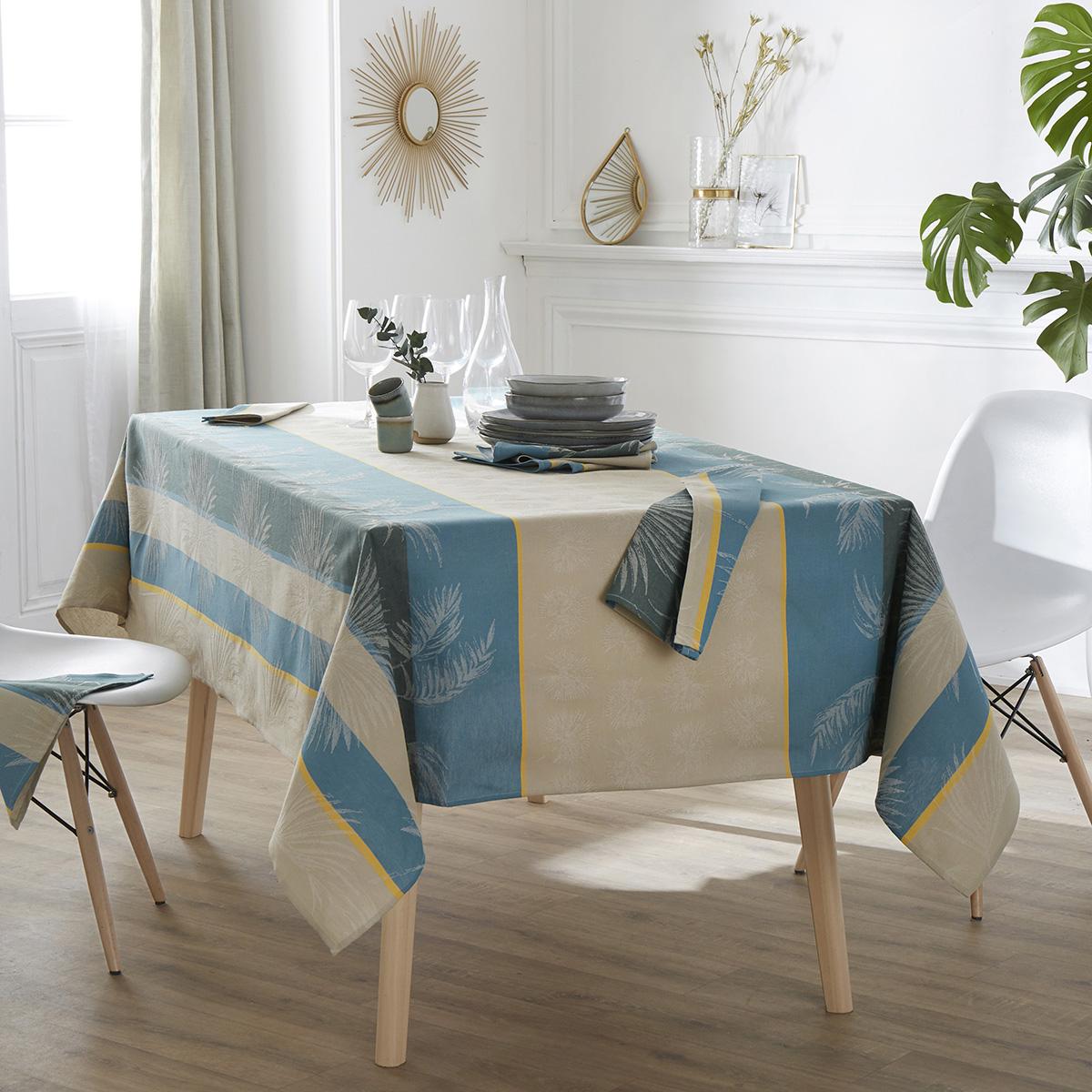 Nappe carrée tropicale à jacquard enduit - Lagon - Carrée 150 x 150 cm