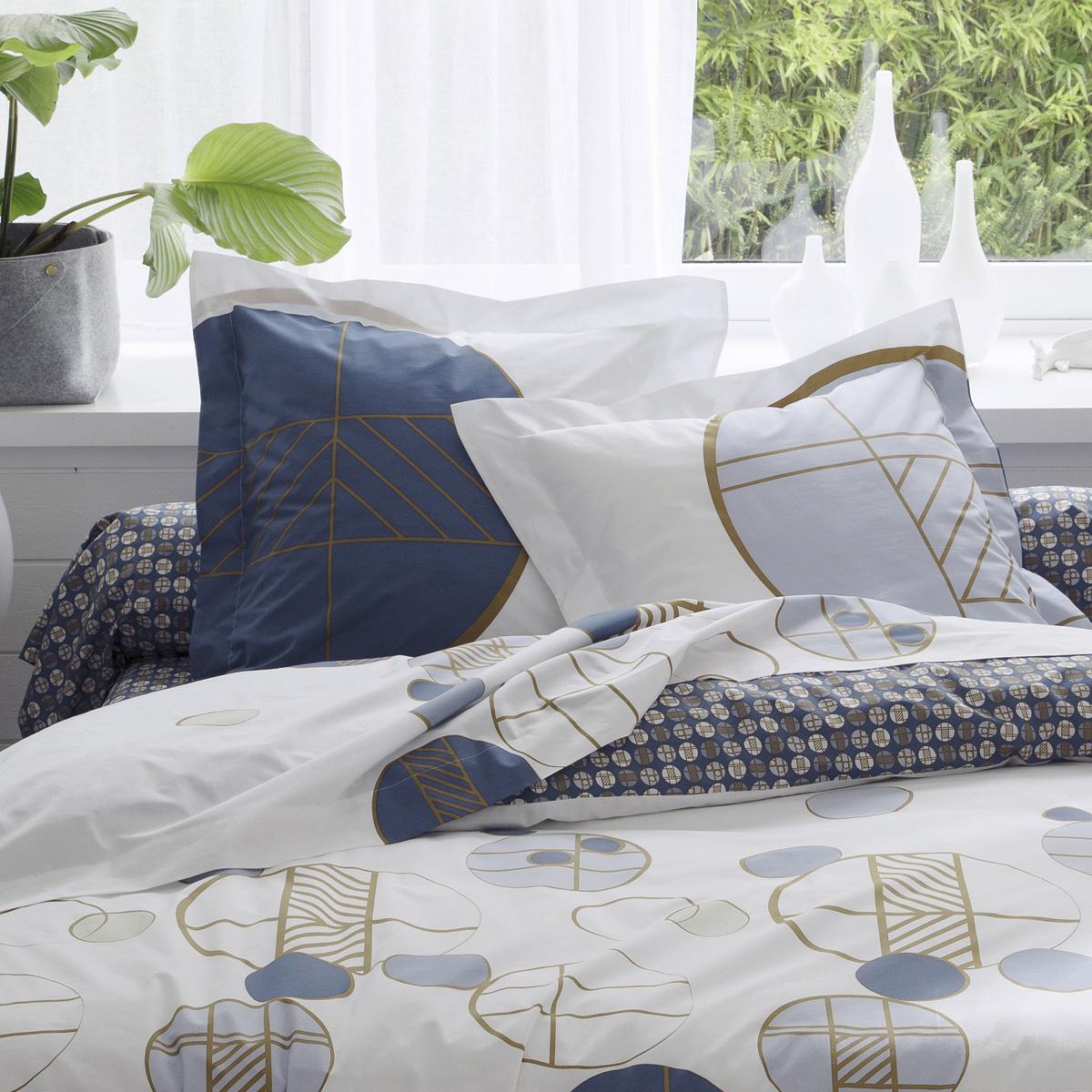 Taie d'oreiller imprimée géométrie ronde - Blanc Bleu - 65 x 65 cm