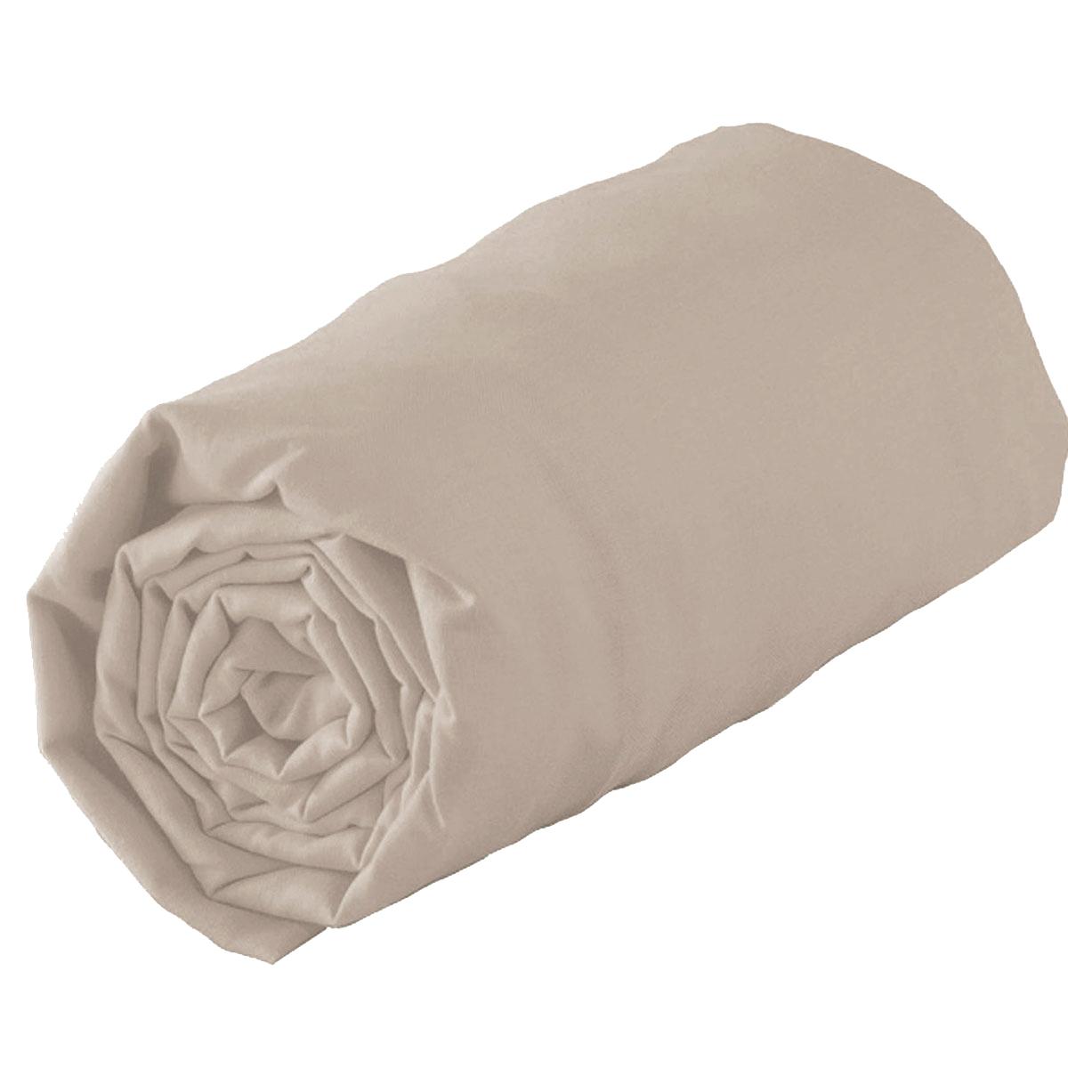 Drap housse en 100% coton biologique - Ficelle - 160 x 200 bt 30 cm