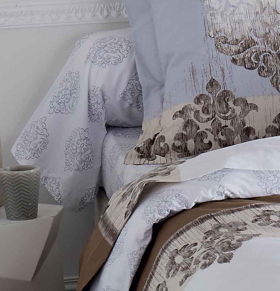 Drap Housse Imprimé Baroque (Blanc Choco)