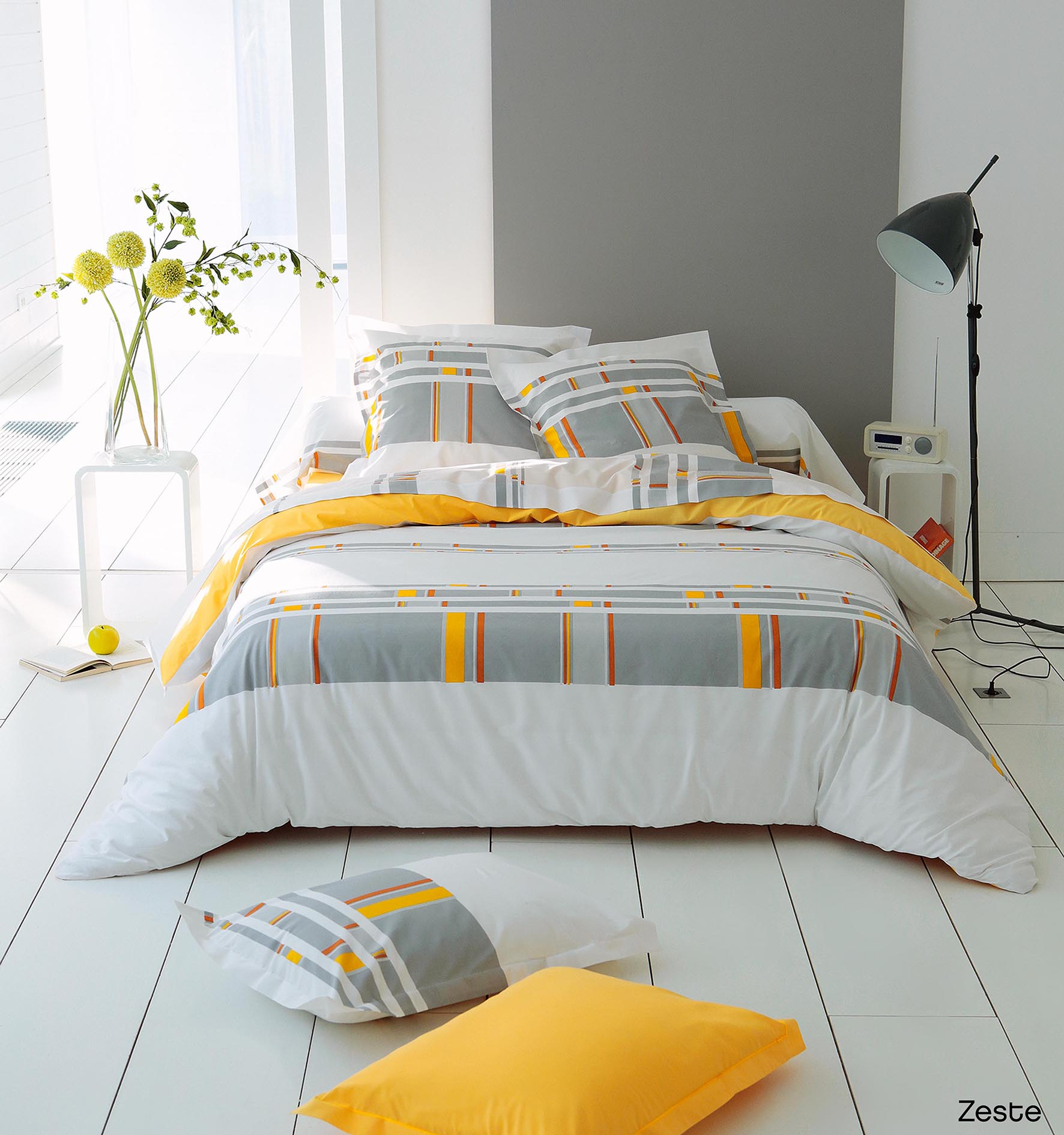 housse de couette zeste jaune homemaison vente en. Black Bedroom Furniture Sets. Home Design Ideas