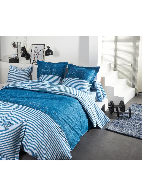 Drap-housse new morning à imprimés bleu (Bleu)