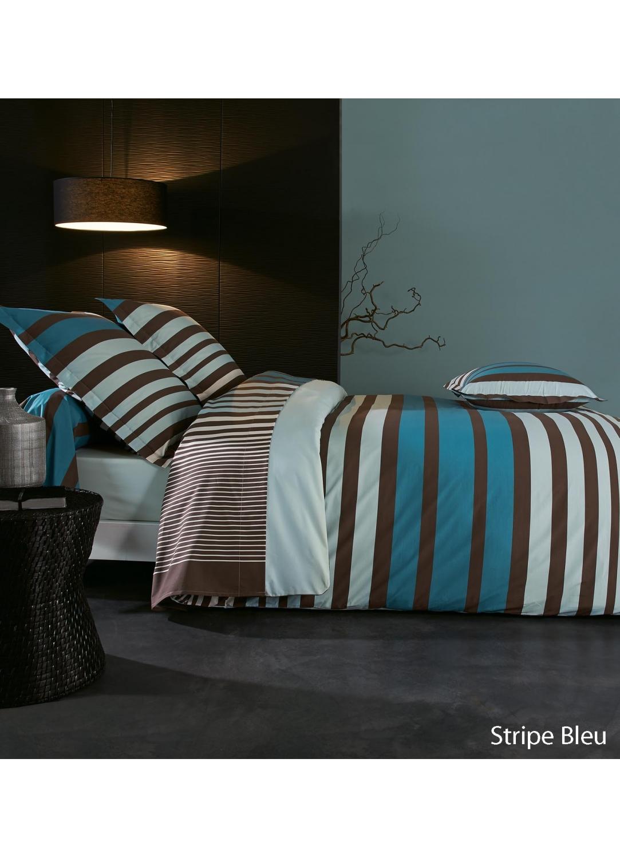 Taie d'oreiller stripe bleu à imprimés rayés (Bleu/Chocolat)