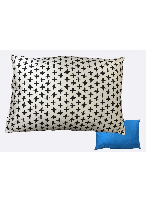 coussin r versible imprim croix et uni bleu oc an blanc homemaison vente en ligne. Black Bedroom Furniture Sets. Home Design Ideas
