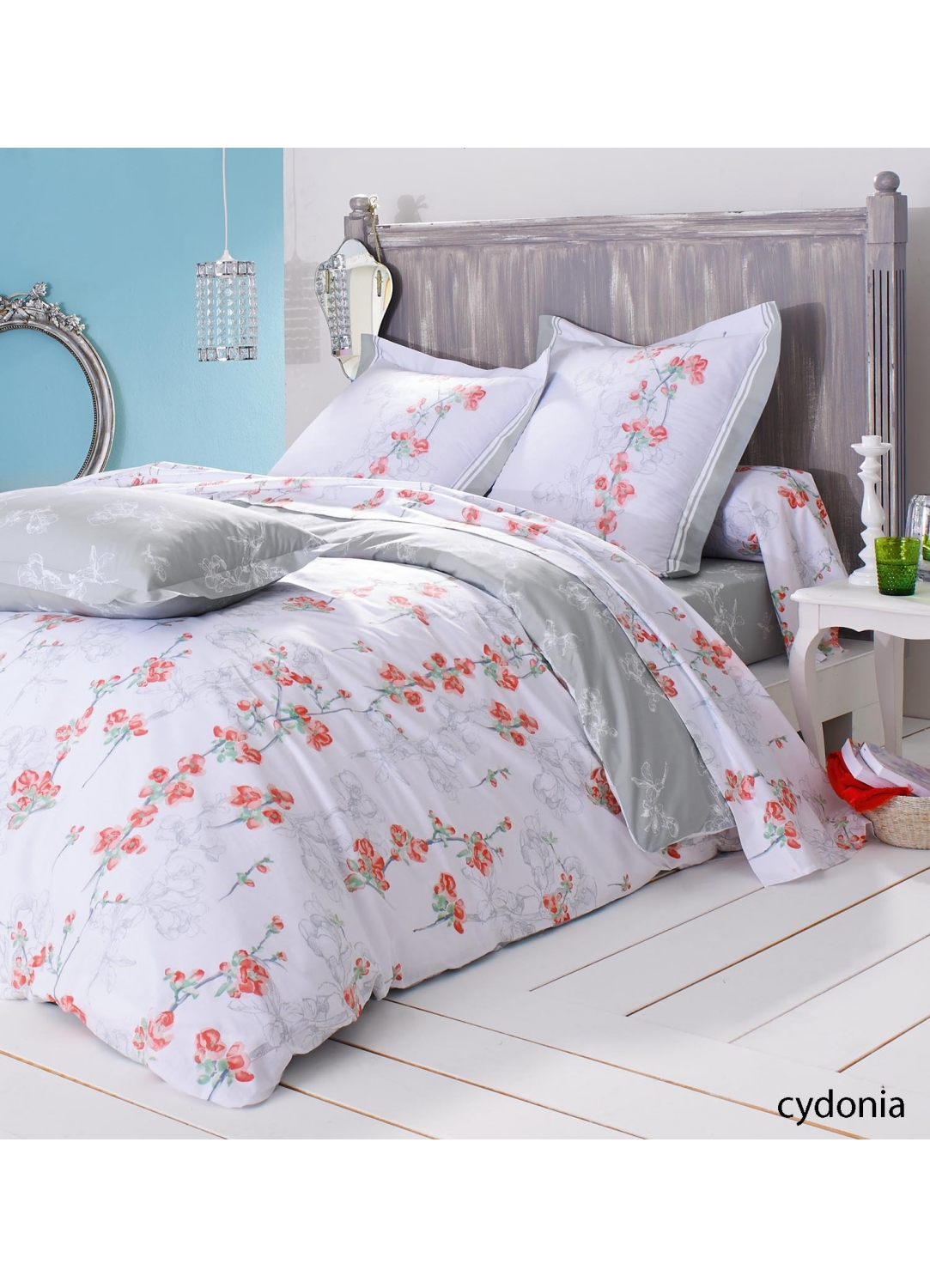 drap housse cydonia aux imprim s floraux blancs blanc rouge homemaison vente en ligne. Black Bedroom Furniture Sets. Home Design Ideas