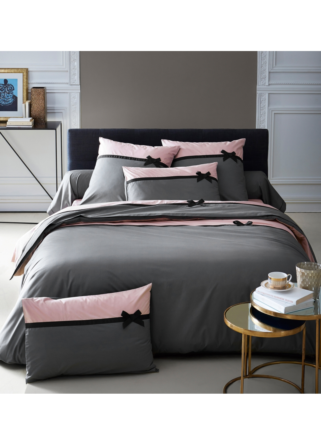 housse de couette frou frou anthracite n ud anthracite homemaison vente en ligne housses. Black Bedroom Furniture Sets. Home Design Ideas