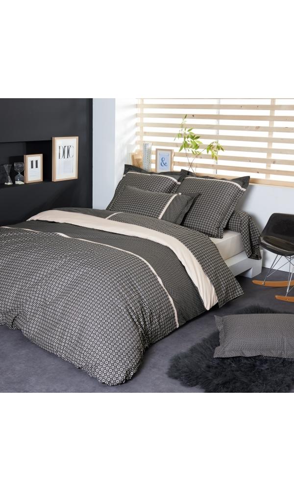 housse de couette gatsby gris homemaison vente en. Black Bedroom Furniture Sets. Home Design Ideas