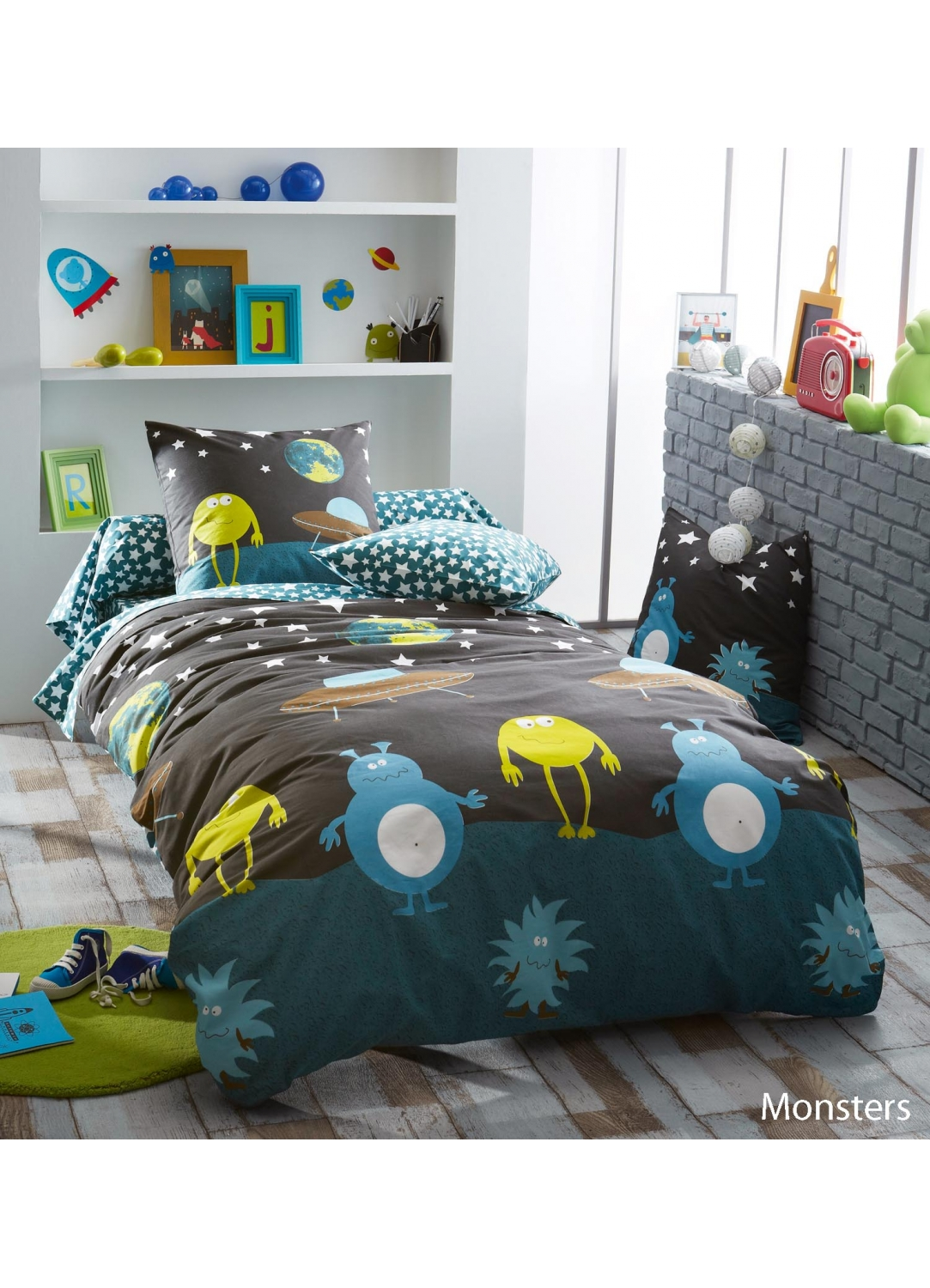 taie d oreiller monsters imprim s monstres bleu homemaison vente en ligne taies d. Black Bedroom Furniture Sets. Home Design Ideas