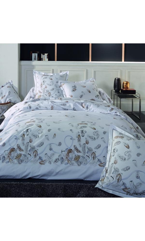 Taie d'oreiller plumes à imprimés plumes - Blanc - 65 x 65 cm