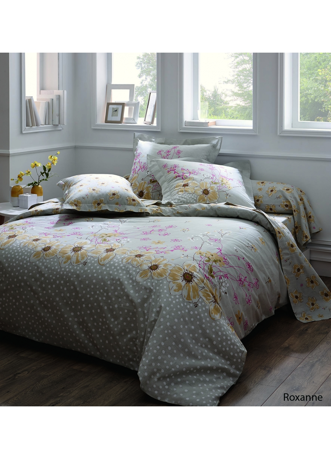 housse de couette roxanne imprim s fleurs jaunes multicolore homemaison. Black Bedroom Furniture Sets. Home Design Ideas