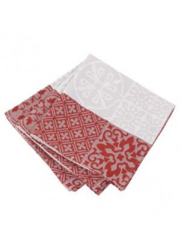 Lot de 3 Serviettes de Table Mosaïque - Rubis - 45 x 45 cm