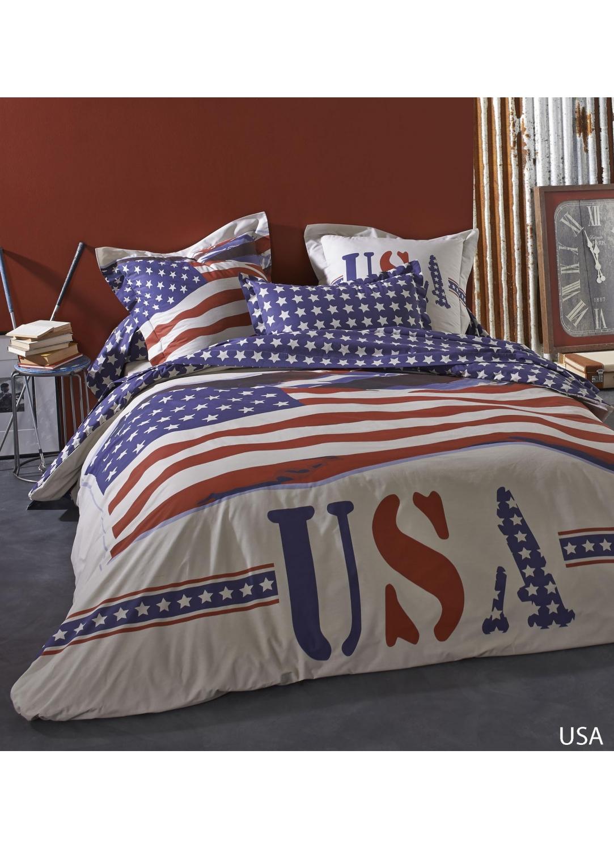 Taie d'oreiller USA à imprimé USA (Blanc)