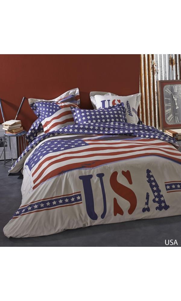 Drap USA à imprimé USA (Blanc)