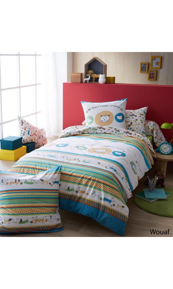 Taie d'oreiller wouaf à imprimés chat/chien - Multicolore - 65 x 65 cm
