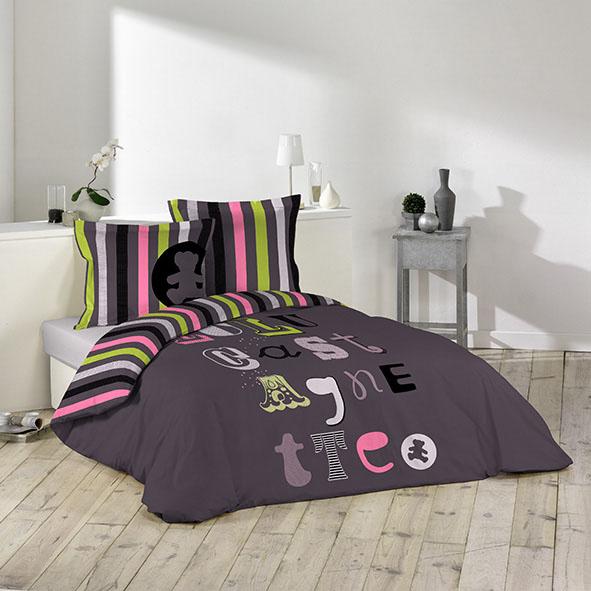 parure 3 pi ces lulu castagnette atelier aubergine homemaison vente en ligne parures de lit. Black Bedroom Furniture Sets. Home Design Ideas