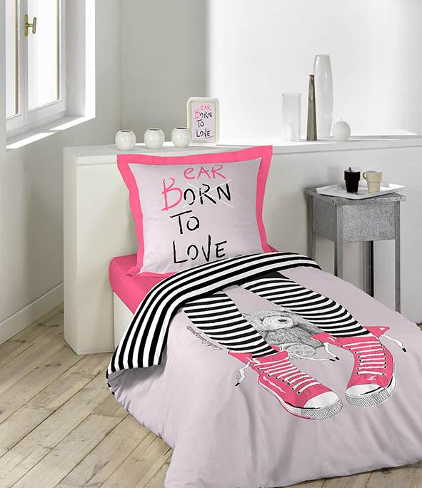 parure 2 p 140x200 lulu castagnette romance parme homemaison vente en ligne parures de lit. Black Bedroom Furniture Sets. Home Design Ideas