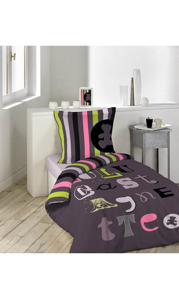 parure 2 p 140x200 lulu castagnette atelier aubergine homemaison vente en ligne parures. Black Bedroom Furniture Sets. Home Design Ideas