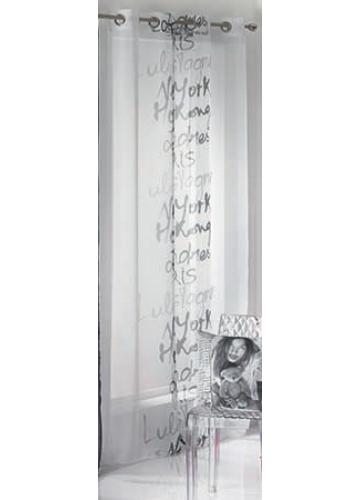 voilage lulu calligraphie blanc noir blanc homemaison vente en ligne voilages. Black Bedroom Furniture Sets. Home Design Ideas