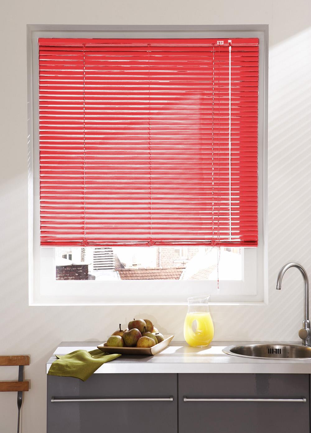 store v nitien en lames de 25 mm en aluminium rouge saumon vert clair gris clair. Black Bedroom Furniture Sets. Home Design Ideas